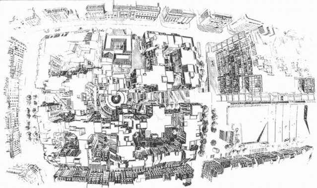 Vue d'oiseau du Quartier de l'Horloge.   Source: Jean-Claude Bernard / Jean-Jacques Robert / ARC architecture