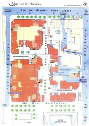 Les 78 commerces classés 'ERP' dans le Quartier de l'Horloge occupent le rez-de-chaussée des immeubles d'habitation. (Surfaces en orange)