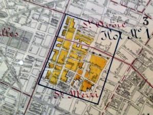 """Carte des """"îlots insalubres"""" (extrait), service du Plan de Paris. Gravure L. Wuhrer. Echelle originale 1/10 000, 19 novembre 1921"""