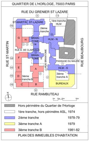 En bleu la 1ère tranche et ses immeubles à faibles charges ASLQH. En rouge les derniers immeubles construits avec de très fortes charges.