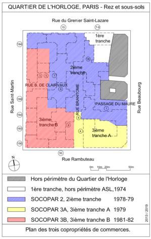 Les trois copropriétés SOCOPAR 2, 3A et 3B occupent la totalité du sous-sol et du rez-de-chaussée du foncier du Quartier de l'Horloge, en dehors des halls d'immeubles.