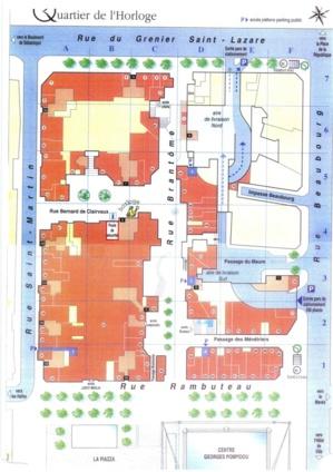 Environ 80 commerces forment le groupement d'ERP du Quartier de l'Horloge. (En orange sur le plan). Les halls d'immeubles ne sont pas concernés. (En rose pâle)