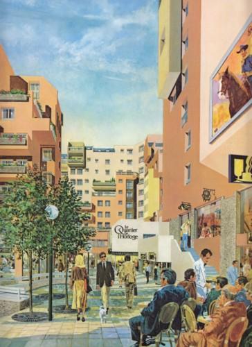 Vue d'artiste du Quartier de l'Horloge pour sa commercialisation avant construction. (source: plaquette COGEDIM)