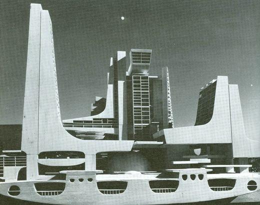 Maquette de la 'Ville Totale', 1962-64. Vingt ans plus tard, l'architecte reprendra le concept des circulations pour le Quartier de l'Horloge mais il sera très attaché à ancrer ses bâtiments au sol.
