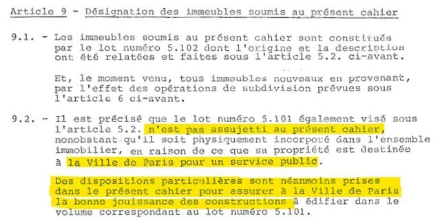 La Ville de Paris n'est pas membre de l'ASL, cependant, des dispositions particulières lui permettent l'usage et la jouissance des services communs. Extrait du CRUH.