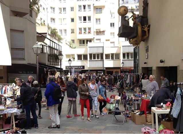 A garage sale, a popular neighborhood activity.