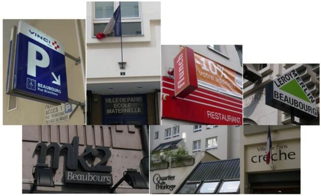 Les établissements recevant du public (ERP) du Quartier de l'Horloge : magasins, cinémas, parkings et écoles.