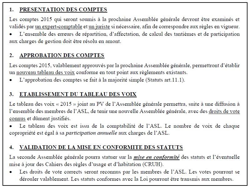 Voici le plan proposé aux propriétaires institutionnels : comment retrouver en 4 étapes une saine gestion dans le respect du droit. Il n'a pas été suivi.