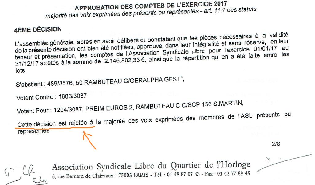 Pour la première fois depuis 10 ans les comptes de l'ASL ne sont pas approuvés par l'assemblée générale.