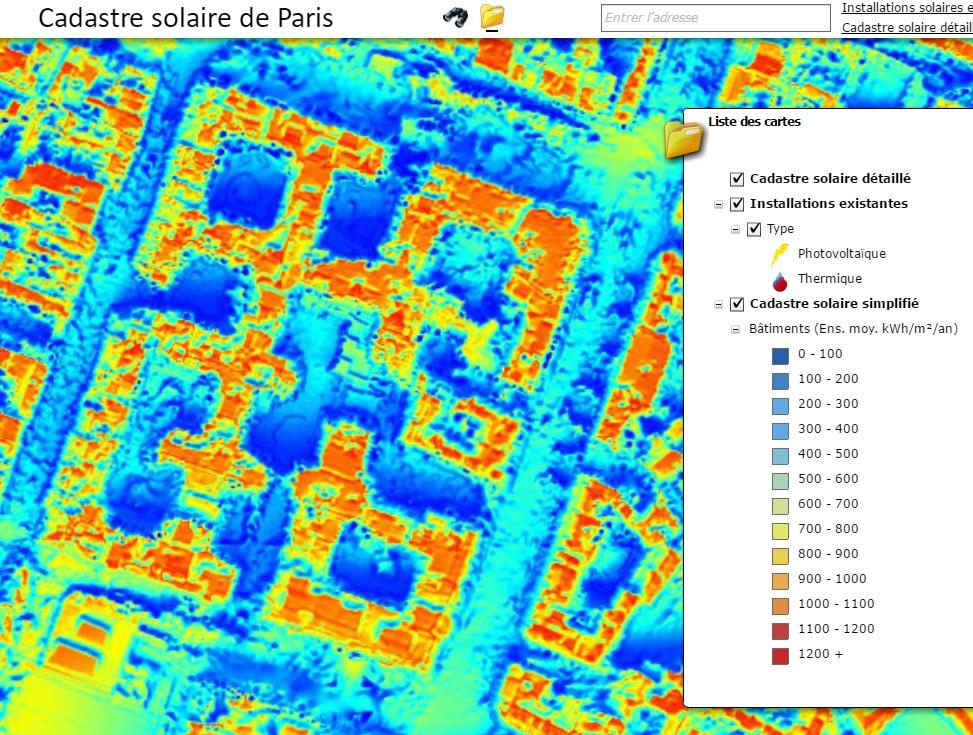 Cadastre solaire de Paris