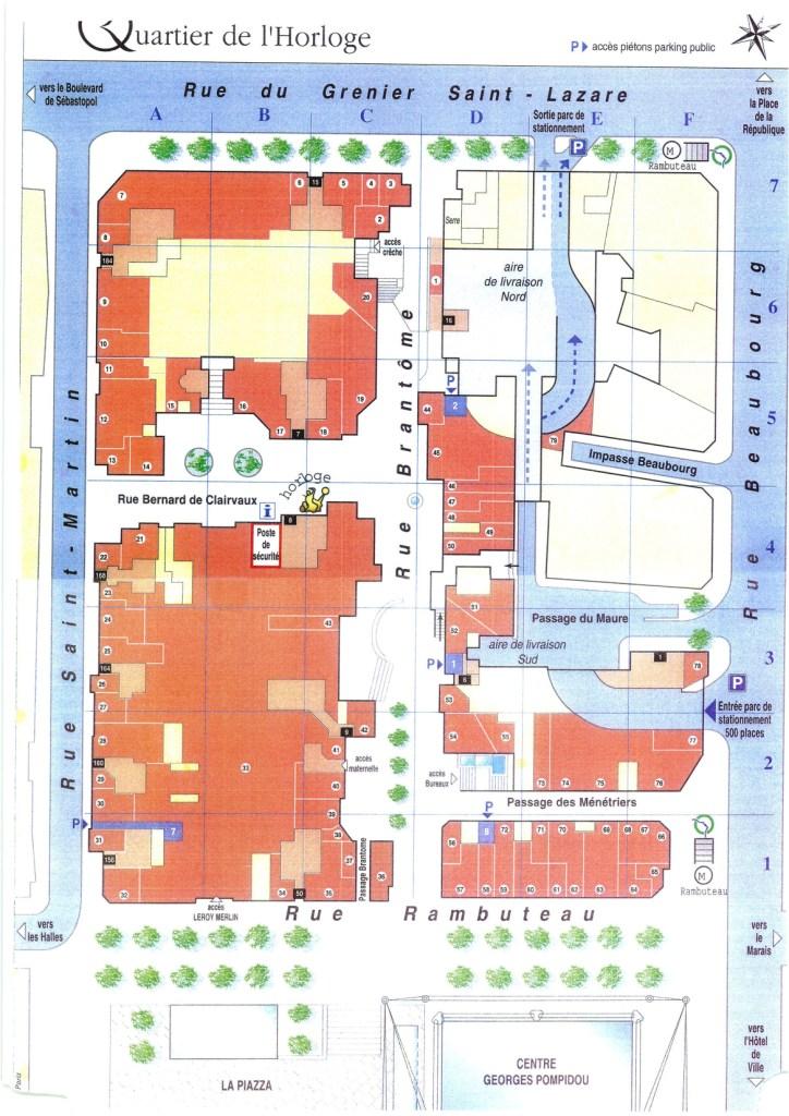 50 à 60 commerces forment le groupement d'ERP du Quartier de l'Horloge. (En orange sur le plan). Les halls d'immeubles ne sont pas concernés. (En rose pâle)