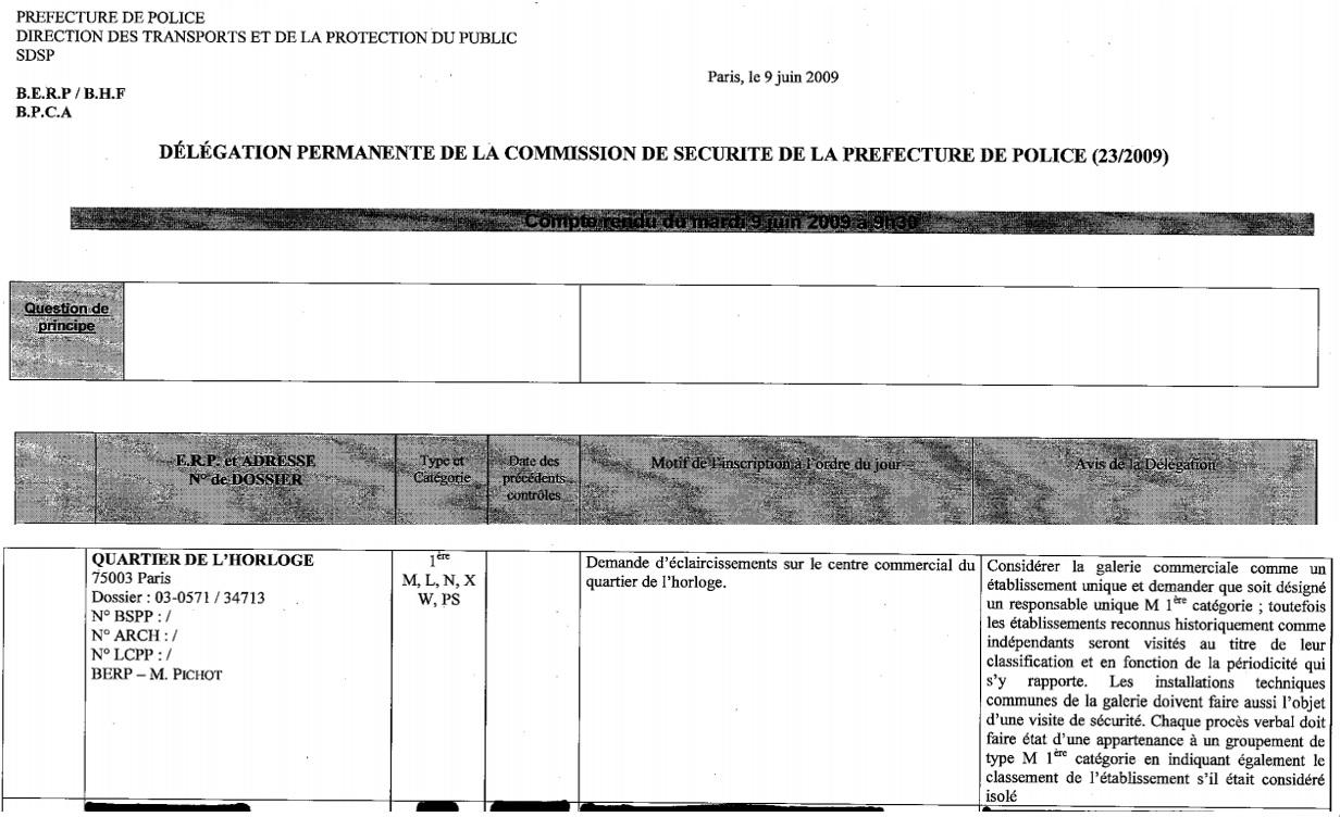 """Le responsable unique de sécurité (R.U.S.) sera désigné suite à la demande de la délégation de la commission de sécurité du 9 juin 2009 pour la """"galerie commerciale"""" qui est considérée comme un """"établissement unique"""". Les bâtiments d'habitations ne sont concernés par cette décision."""