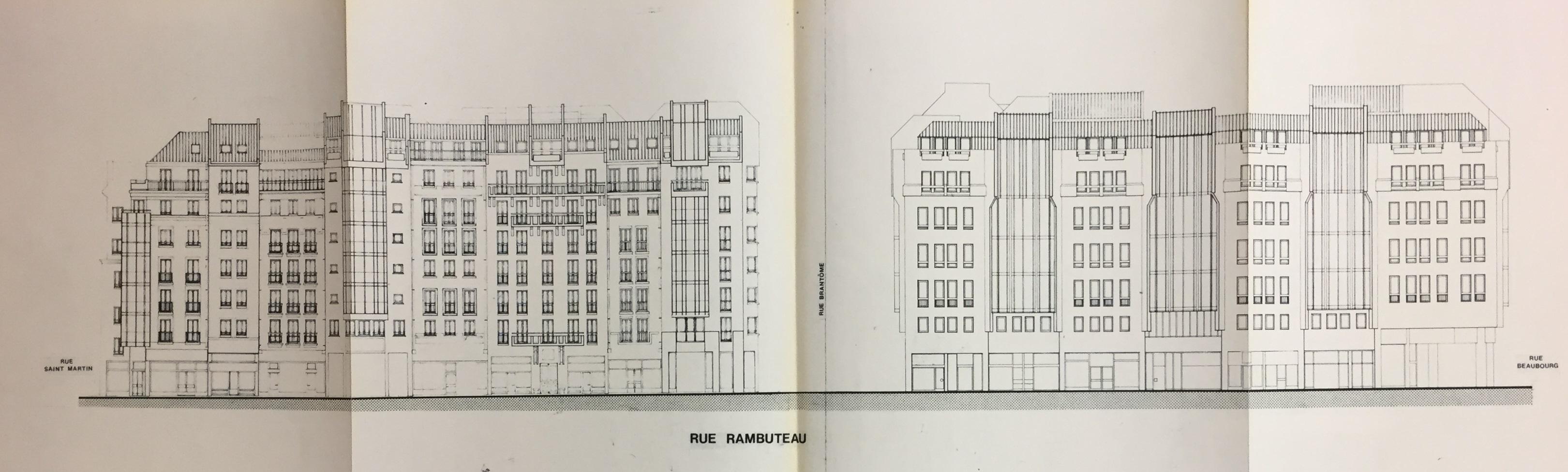 Projet réalisé en 1982. La rue Rambuteau face au Centre Pompidou.